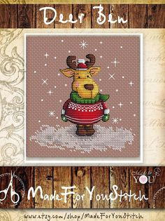 Deer cross stitch pattern christmas cross stitch deer stitch pattern deer xstitch animal cross stitch simple cross stitch deer embroidery -------------------------------------------------------- Details: All our patterns are in English!!! - Chart designed for Aida 14 ct or evenweave