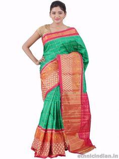 Green Color Pochampally Silk Ikat Stripes Saree with zari and ikat border : Front View