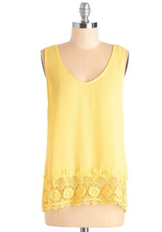 Those Summer Brights Top. From ambling afternoons to laid-back nights on the porch, this sunny yellow tank radiates easygoing elegance in any occasion! #yellow #modcloth