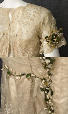 Detail of Brussels lace trimmed wedding gown with cathedral train, c.1910~Image via Vintage Textile