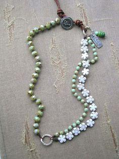 Boho wrap bracelet, knotted bracelet turquoise artisan silver charm, barn wedding farmhouse chic, daisies sundance
