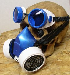 2 pc set Electric Blue and White Cosplay Anime Double Filter Respirator GAS MASK and Matching GOGGLES by jadedminx on Etsy