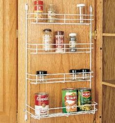 13-5/8 Inch Door Mount Spice Rack. Our new handy door mount spice racks come in a variety of widths with screw down clips for easy mounting. Perfect for spice bottles & lower shelf easily supports can goods.