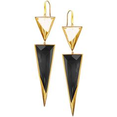 Lana 14k Crystal Jet Black Drop Earrings (£1,475) ❤ liked on Polyvore featuring jewelry, earrings, accessories, black drop earrings, triangle drop earrings, crystal earrings, 14 karat gold earrings y triangle jewelry