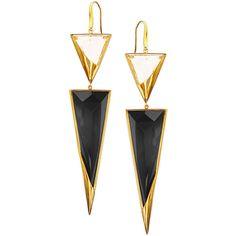 Lana 14k Crystal Jet Black Drop Earrings ($2,400) ❤ liked on Polyvore featuring jewelry, earrings, crystal jewelry, black crystal earrings, womens jewellery, black triangle earrings and drop earrings