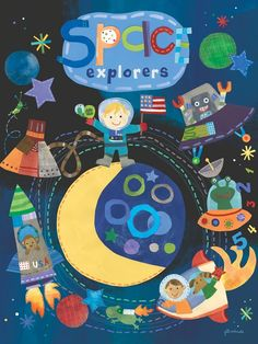 """""""Space Explorers"""" artwork for kids rooms by Jill McDonald for Oopsy daisy, Fine Art for Kids $119"""
