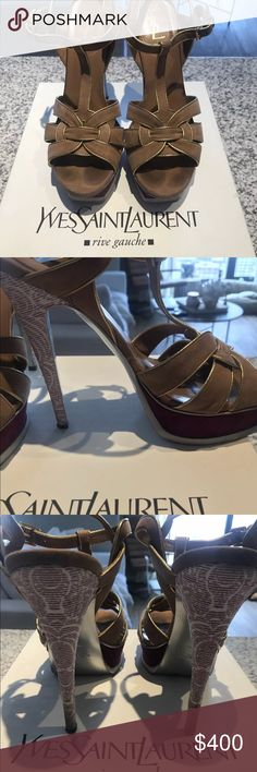c0f7c8376c5 He s Saint Laurent Good used condition with signs of wear in box YSL  Tribute 105 Sandal. Brown brushed suedes with gold leather trim. Purple heel  with white ...