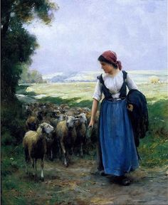 "VINTAGE VICTORIAN SHEEP RURAL LANDSCAPE LAMB *CANVAS* FARM ART PRINT 11/"" x 8.5/"""