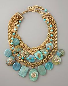 Turquoise and gold chunky chain  multi-strand statement necklace
