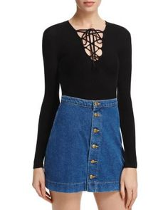 Project Social T Lace-Up Ribbed Bodysuit & Denim Skirt - 100% Bloomingdale's Exclusive | bloomingdales.com