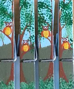 Tree Owls clothespin magnets set of 4 by LiliesandPearls on Etsy