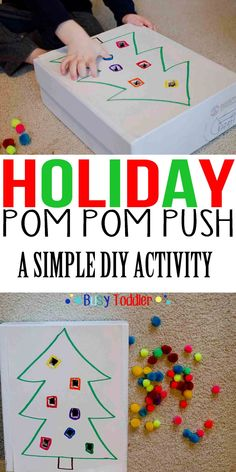 Holiday Pom Pom Push – Busy Toddler – Jennifer Hier @ Early Learning Ideas – Preschool and Pre-k Educational Ideas – art therapy activities Noel Christmas, Christmas Themes, Holiday Crafts, Holiday Fun, Christmas Writing, Holiday Ideas, Infant Activities, Preschool Activities, Preschool Learning
