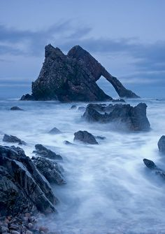 Bow Fiddle Rock, Portknockie - Portknockie (Scottish Gaelic: Port Chnocaidh, the hilly port) is a coastal village on the Moray Firth within Moray, Scotland