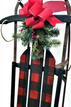 Winter or Christmas Buffalo Check sleigh porch decor by Homeroad, featured on Funky Junk Interiors Diy Christmas Tree, Outdoor Christmas Decorations, Christmas Wreaths, Plaid Christmas, Christmas Ideas, Merry Christmas, Antique Christmas, Primitive Christmas, Christmas Christmas