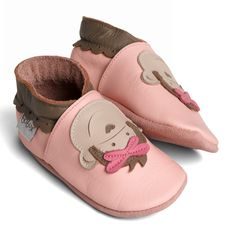 shoes for a cheeky little monkey...soft sole pale pink monkey