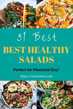 Here are 31 of the Best Healthy Salads you can make this Summer! Try them for a side dish for dinner or take to any outdoor BBQ you may have! Sunday Dinner Recipes, Delicious Dinner Recipes, Healthy Side Dishes, Side Dish Recipes, Healthy Salad Recipes, Vegan Recipes, Lunch To Go, Dinner Dishes, Kitchen Recipes