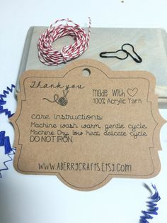 Care Instruction Tag Kraft Label For Hand Made