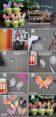 DIY Butterfly Cupcake Toppers Tutorial