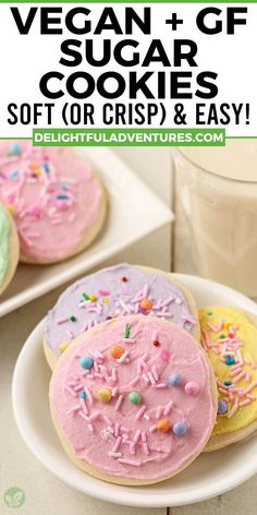 Easy, homemade cut-out vegan gluten-free sugar cookies you can make for Christmas, Valentine's Day, Easter, Halloween…they're perfect for ANY occasion! This recipe can be made soft or crispy, it's up to you. And yes, they're 100% egg-free, dairy-free, nut-free, gf, and delicious! Decorate with buttercream frosting or a simple vegan icing that hardens, recipes for both are included. Easy Vegan Cookies, Vegan Gluten Free Cookies, Gluten Free Sugar Cookies, Soft Sugar Cookies, Free Gf, Egg Free, Dairy Free, Vegan Dessert Recipes, Vegan Sweets