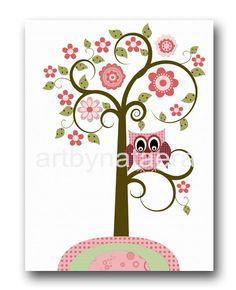 "Art for Children , Kids Wall Art, Baby Girl Room Decor, Nursery print 8"" x 10"" Print,tree,owls, birds,flowers,rose,pink,green. $14.00, via Etsy."