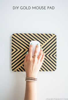 DIY Gold Chevron Mouse Pad | Homey Oh My!