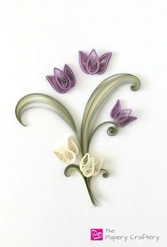 Quilling Paper Tulips - The Papery Craftery Quilled Roses, Paper Quilling Flowers, Paper Quilling Cards, Paper Quilling Patterns, Quilled Paper Art, Quilling Ideas, Quilling Instructions, Paper Quilling Tutorial, Arte Quilling