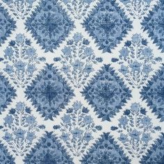 Yamuna - Blue Chelsea - Bernard Thorp Fabric and Wallpaper Hand Printed Fabric, Printing On Fabric, Fabric Houses, Clever Design, Fabulous Fabrics, Fabric Wallpaper, Pattern Names, Floral Fabric, Home Textile
