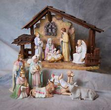 11 piece set of homco home interior christmas nativity bear figurine