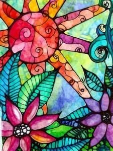 This inspired me to trace some stained glass designs on watercolor paper with puff paint and the residents at the nursing home painted them with water colors- can't wait to do this w my residents! - Oh my trendy!