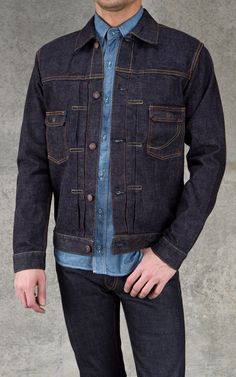 Momotaro Jeans Blue Denim Jacket Indigo 14.7oz