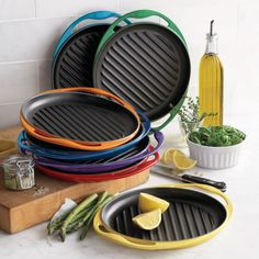 Le Creuset Soleil Skinny Grill >> This is much less expensive than the grill pan with the panini press lid. I figure if I really want a panini I can just flip the sandwich and put a cast iron skillet on it. Kitchen Supplies, Kitchen Items, Kitchen Utensils, Kitchen Gadgets, Kitchen Decor, Kitchen Appliances, Kitchen Tools, Kitchen Products, Kitchen Stuff