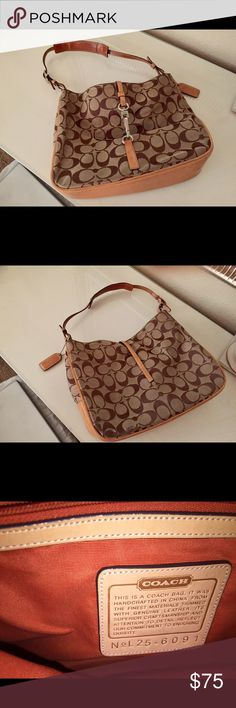 Coach Signature Fabric handbag Coach Signature fabric handbag in tan. Front closure. Some marks on the bottom and fabric Coach Bags Shoulder Bags