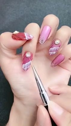 Simple nails art design video Tutorials Compilation Part 140 - Nail art designs Nail Art Designs Videos, Nail Design Video, Simple Nail Art Designs, Winter Nail Designs, Winter Nail Art, Easy Nail Art, Colored Acrylic Nails, Nail Techniques, Gel Nagel Design