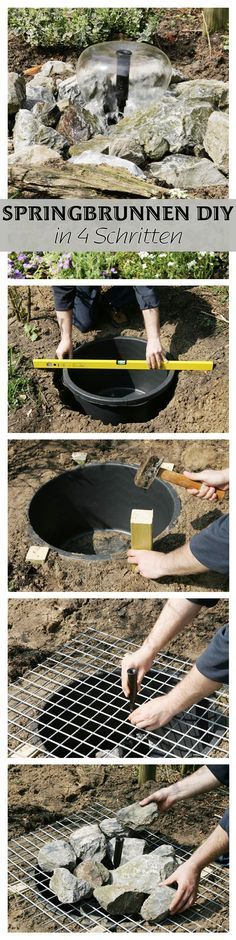 Einen kleinen Springbrunnen kannst du dank unseres DIY in wenigen Schritten nachbauen. Der Vorteil: Das Wasserspiel wird in den Boden eingelassen und nimmt so kaum Platz im Garten weg.