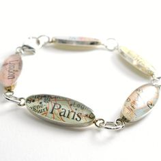 Around The World Vintage Map Sterling Silver and Resin Custom Bracelet. You Select the Journey.