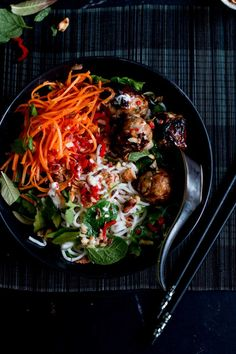 Vietnamese Sticky Pork Meatball & Coconut Noodle Bowls with Shallots and Mint | The Brick Kitchen