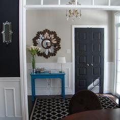 Collingwood walls, dark grey & bright blue accent