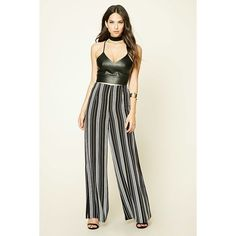 Forever21 Striped Palazzo Pants (33 CAD) ❤ liked on Polyvore featuring pants, shell pants, stripe pants, palazzo trousers, white striped pants and white palazzo trousers