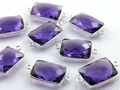 Purple Amethyst Bezel Chicklet Gemstone Component by Beadspoint, $7.99