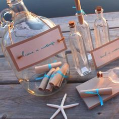 Fun party idea or engagement party for guests to leave notes for the happy couple to read on their first anniversary.