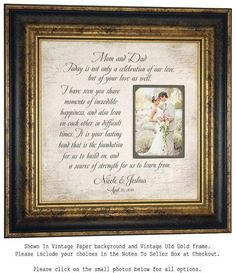 Parents of the Bride Gift Mother of the by PhotoFrameOriginals