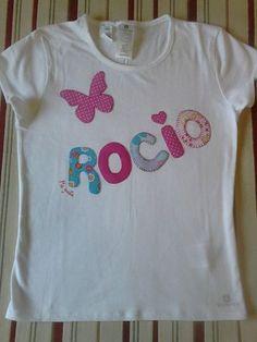 """Camiseta de niña con nombre decorada en patchwork. Facebook camisetas decoradas """"ME GUSTA"""""""