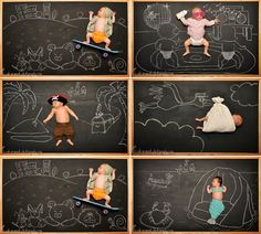 Baby Blackboard Adventures - such an innovative idea for infant photography!