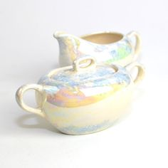 Iridescent Luster Cream & Sugar Bowl Set - Gorgeous Soft Rainbow of Color, Handmade Painted Ceramic - Vintage Retro Home Decor
