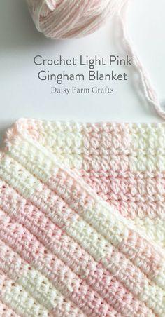Free Pattern - Crochet Light Pink Gingham Blanket