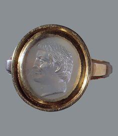 Cameo of Marcus Antonius (Mark Antony) - Chalcedony and Gold - 1st Century BCE
