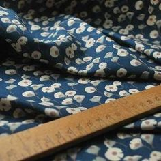 Hanakotoba - Japanese floral - Cotton fabric - Petrol blue - s Fabric Online Uk, Viking Sewing Machine, Cotton Lawn Fabric, Sewing Courses, Dressmaking Fabric, Vintage Dress Patterns, Liberty Fabric, Sewing Clothes, Sewing Projects