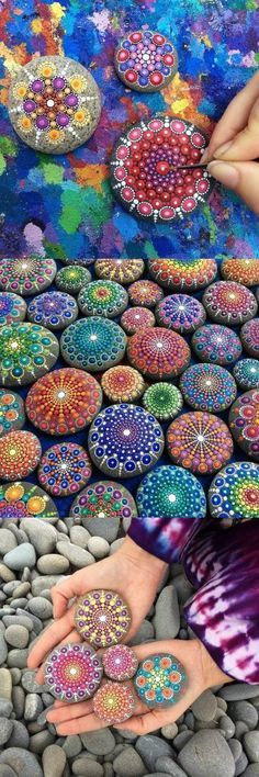 Elspeth McLean (@elspethmclean) paints ocean rocks with thousands of tiny dots. ART