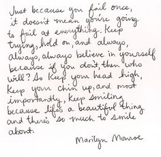 chin up & smile. Love, Marilyn