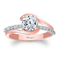 Rose & White Gold Engagement Ring 8033LTT